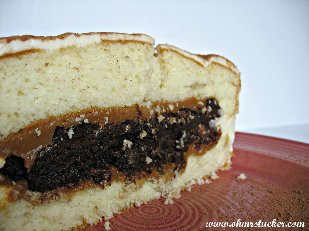 White Cake With Brownie and Caramel Center and Cream Cheese Frosting