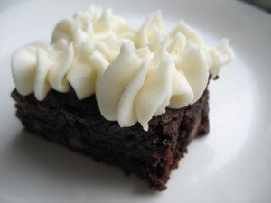Chocolate. Brownie. Cream. Cheese. Frosting.