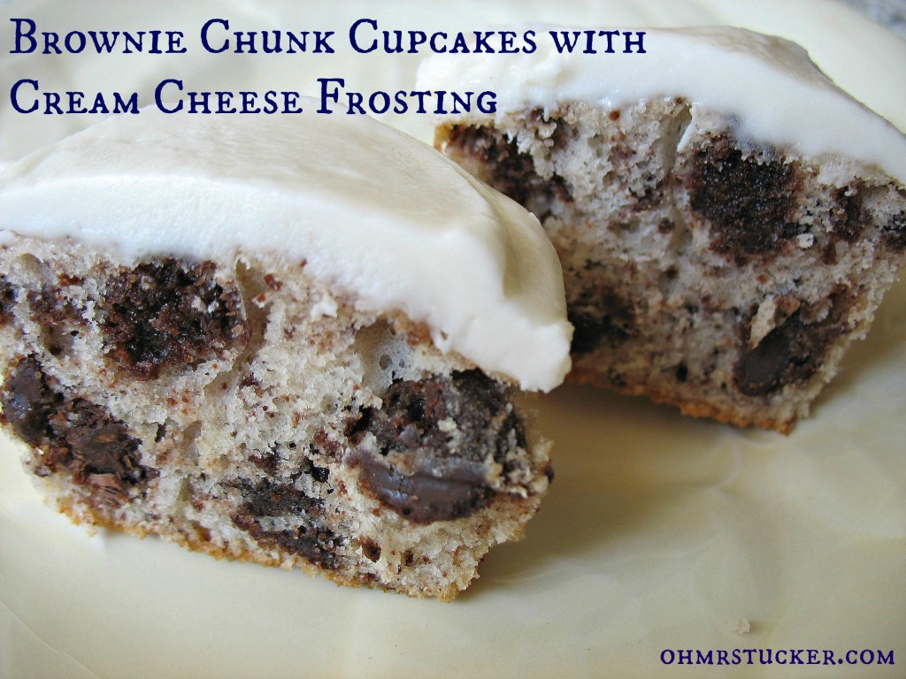 Brownie Chunk Cupcakes with Cream Cheese Frosting