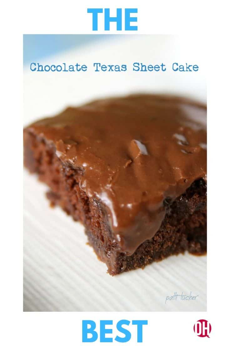 A cut piece of The Best Texas Chocolate Sheet Cake