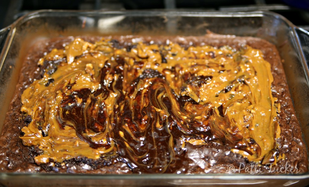 Caramel-Filled Double Chocoalte Brwonies with Toasted Pecans