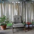 Inexpensive DIY Outdoor Patio Drop Cloth Curtains #dropcloth #diy #dropclothcurtains #pationcurtains #ohmrstucker