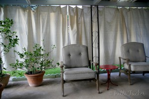 DIY Outdoor Patio Drop Cloth Curtains with patio chair