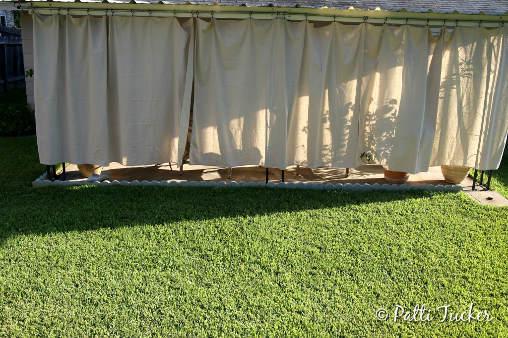 Inexpensive DIY Outdoor Patio Drop Cloth Curtains