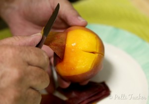 peeling a peach