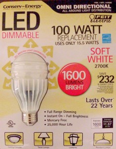 Feit Electric Omni Directional 100W/15.5W LED Dimmable 1600 Lumens