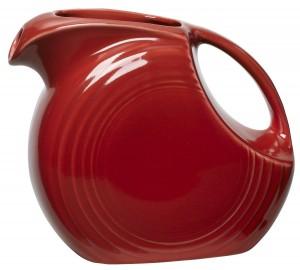 red Fiestaware pitcher
