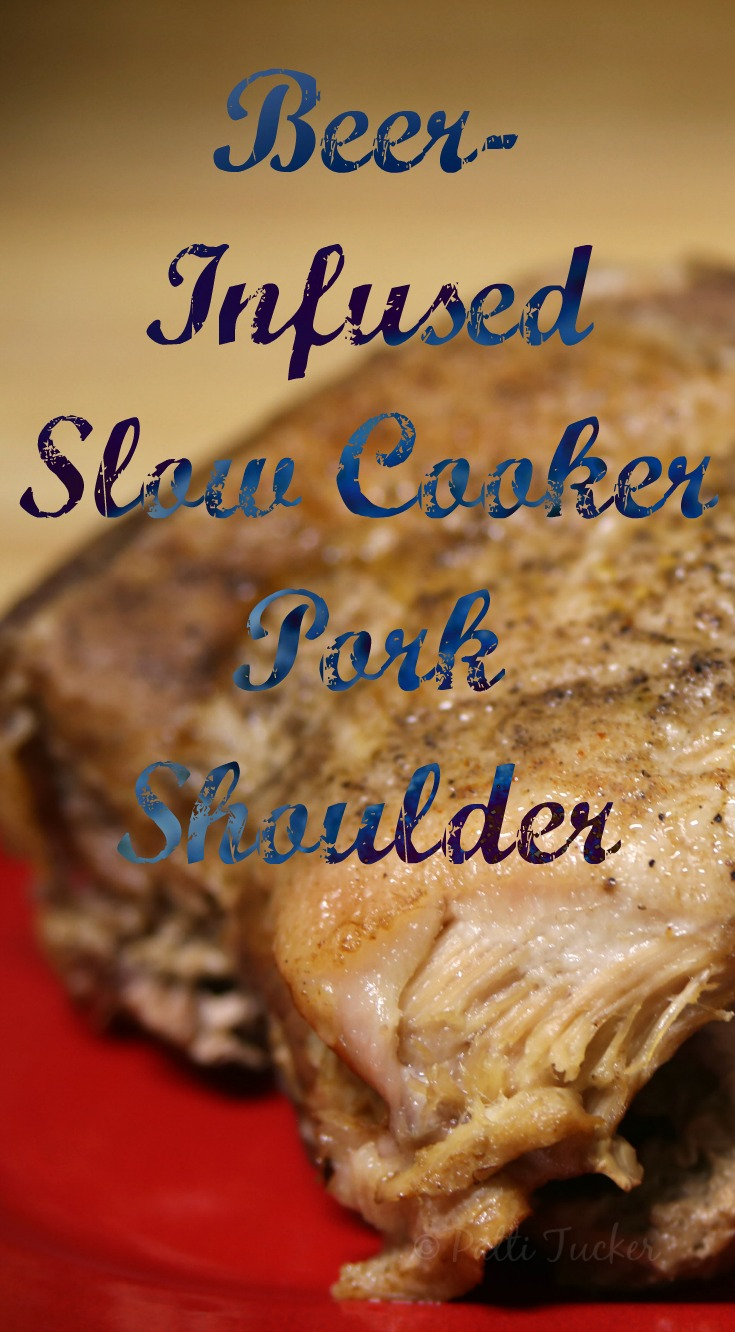 cooked pork shoulder with overlay of text