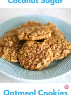 coconut sugar oatmeal cookies on a blue plate