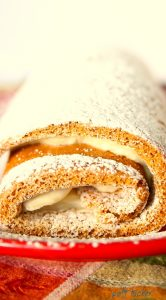 pumpkin roll on red platter