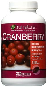 bottle of cranberry supplements