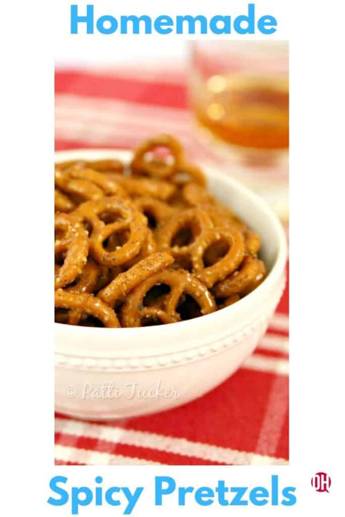 pretzels in a white bowl on a table