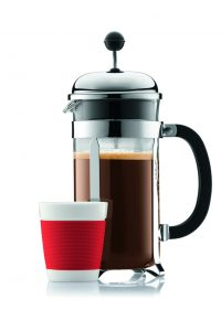 french press with coffee and a cup