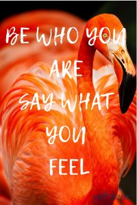 orange flamingo with text overlay: Be Who You Are and Say What You Feel Inspirational quote