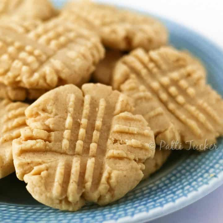 Natural Peanut Butter Cookies on a blue plate