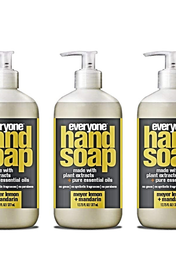 three bottles of everyone hand soap