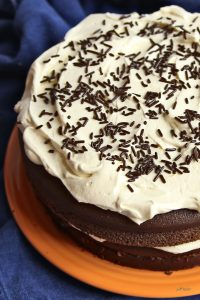 chocolate cake with white icing and jimmes on orange plate