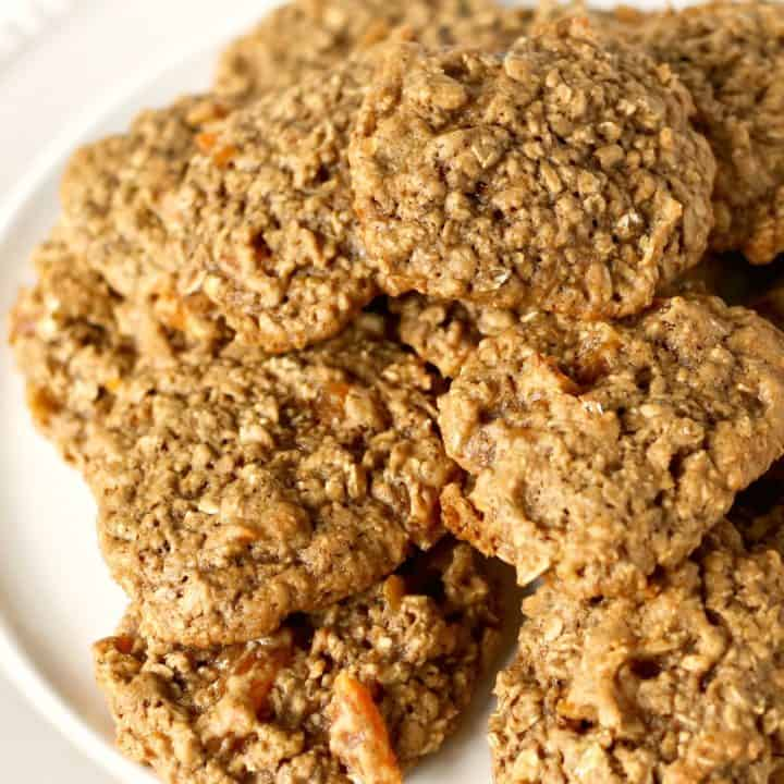 plate of Perfect Oatmeal Cookies with Dried Apricots
