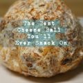 cheeseball on plate with overlay of text