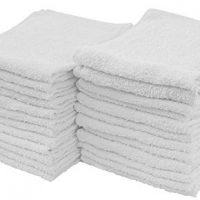 S & T 593901 White Cotton Terry Cleaning Towels, 24 Pack