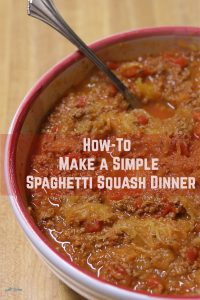 Simple Spaghetti Squash Dinner with meat sauce