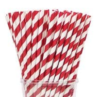"Webake 144 Pack Biodegradable Paper Straws Stripes 7.75"" for Birthdays, Holiday, Weddings, Baby Showers, Celebrations, Parties, Valentine's Day Cake Pops (Red)"