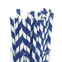 Fun Express Blue Striped Paper Straws - 24 Piece Pack