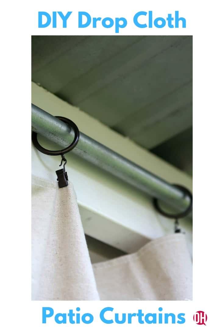 Inexpensive DIY Outdoor Patio Drop Cloth Curtains #dropcloth #diy #dropclothcurtains #pationcurtains #ohmrstucker