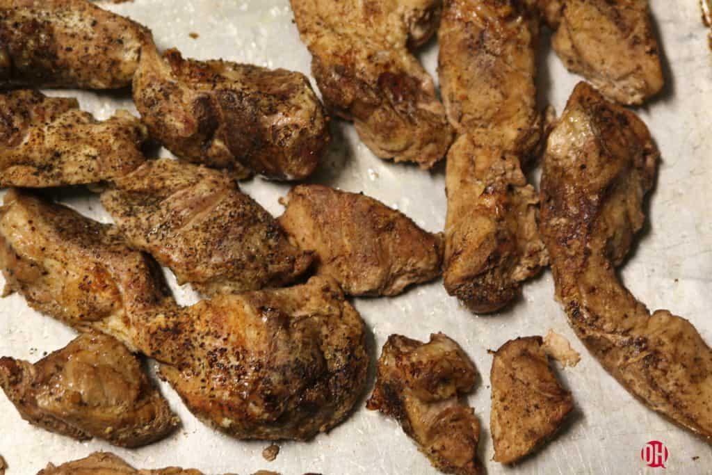 cooked pork ribs on pan