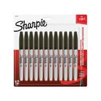 Sharpie Permanent Markers, Fine Point, Black, 12 Count