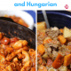 side by side bowls of american and hungarian goulash