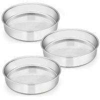 9½ Inch Cake Pan Set of 3, E-Far Stainless Steel Round Cake Baking Pans, Non-Toxic & Healthy, Mirror Finish & Dishwasher Safe