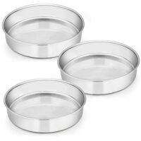 9½ Inch Cake Pan Set of 3, E-Far Stainless Steel Round Cake Baking Pans, Non-Toxic & Healthy, Mirror Finish & Dishwasher Safe