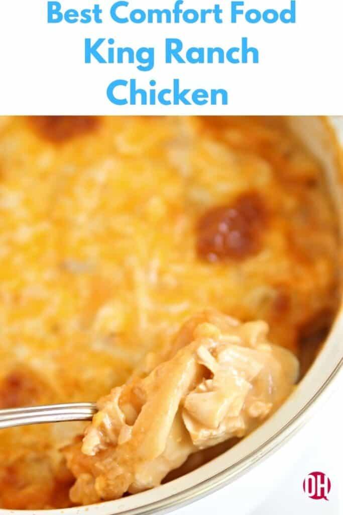 graphic with king ranch chicken with a spoon holding one bite
