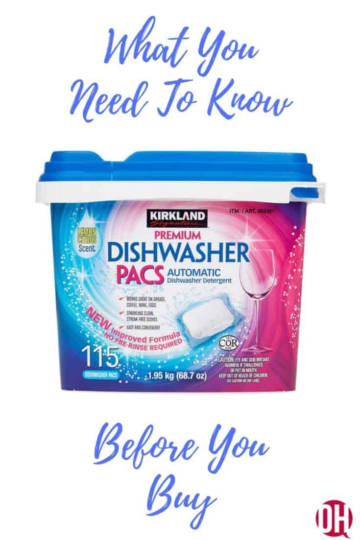 photo of kikland dishwasher pac container with text